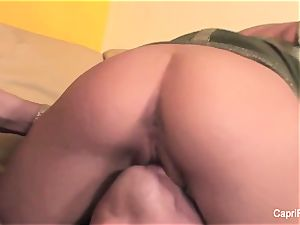 sumptuous Capri gets banged on the sofa