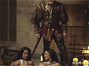 Alluring Anissa Kate and Jasmine Jae comply the king's will and manhood